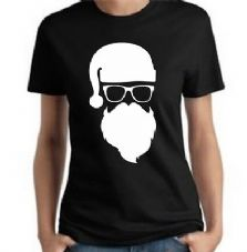 Bad Ass Santa T Shirt Christmas Fun Novelty Funny Santa Beard